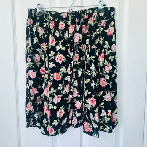 More Boom Black Pink Floral Rayon Skirt 18 / 20